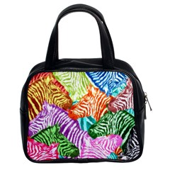 Zebra Colorful Abstract Collage Classic Handbags (2 Sides)