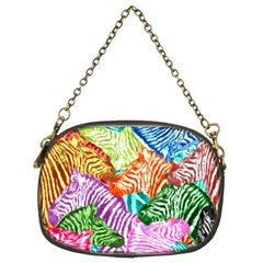 Zebra Colorful Abstract Collage Chain Purses (two Sides)