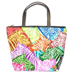 Zebra Colorful Abstract Collage Bucket Bags