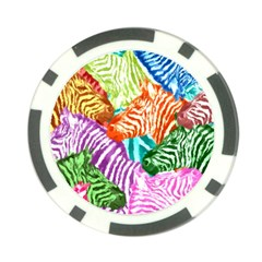 Zebra Colorful Abstract Collage Poker Chip Card Guards (10 pack)