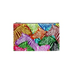 Zebra Colorful Abstract Collage Cosmetic Bag (small)