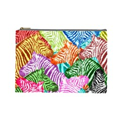 Zebra Colorful Abstract Collage Cosmetic Bag (large)