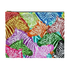 Zebra Colorful Abstract Collage Cosmetic Bag (xl)