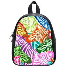 Zebra Colorful Abstract Collage School Bags (small)