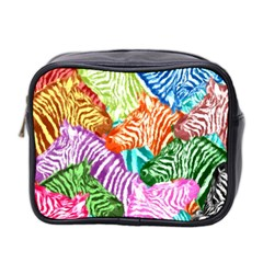 Zebra Colorful Abstract Collage Mini Toiletries Bag 2 Side