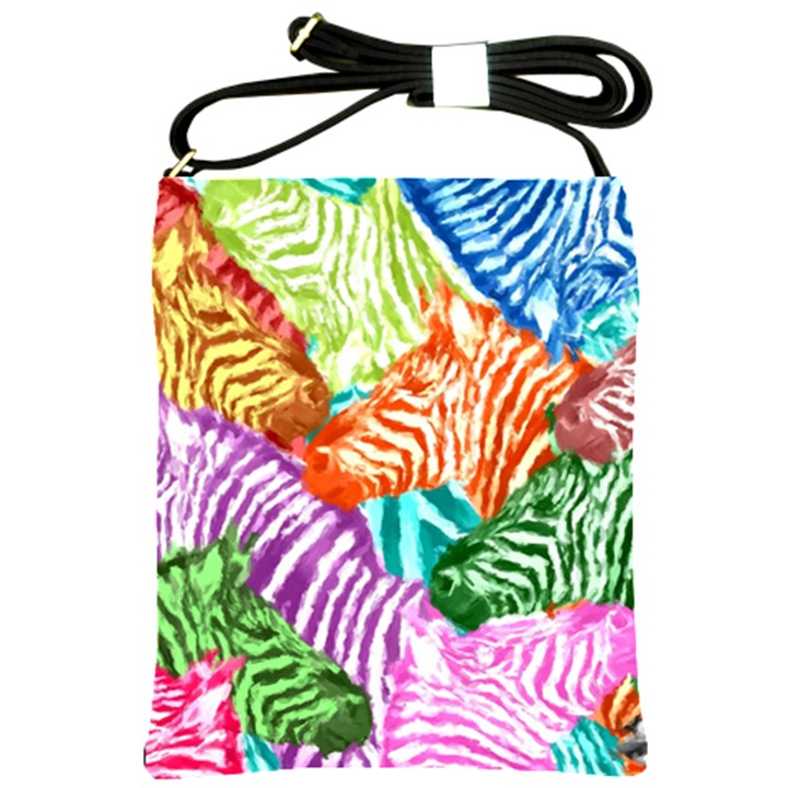 Zebra Colorful Abstract Collage Shoulder Sling Bags
