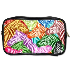 Zebra Colorful Abstract Collage Toiletries Bags 2 Side