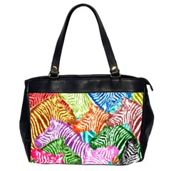 Zebra Colorful Abstract Collage Office Handbags (2 Sides)