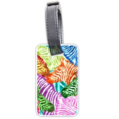 Zebra Colorful Abstract Collage Luggage Tags (one Side)