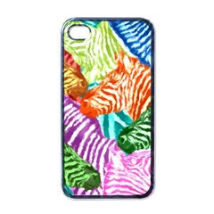 Zebra Colorful Abstract Collage Apple Iphone 4 Case (black)