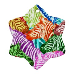 Zebra Colorful Abstract Collage Ornament (snowflake)