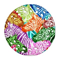 Zebra Colorful Abstract Collage Round Filigree Ornament (2side)