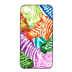 Zebra Colorful Abstract Collage Apple Iphone 4/4s Seamless Case (black)