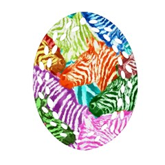 Zebra Colorful Abstract Collage Oval Filigree Ornament (2 Side)