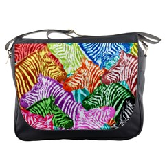 Zebra Colorful Abstract Collage Messenger Bags