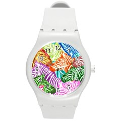 Zebra Colorful Abstract Collage Round Plastic Sport Watch (m)