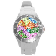 Zebra Colorful Abstract Collage Round Plastic Sport Watch (l)