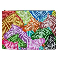 Zebra Colorful Abstract Collage Cosmetic Bag (xxl)
