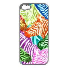 Zebra Colorful Abstract Collage Apple Iphone 5 Case (silver)