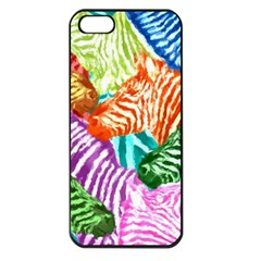 Zebra Colorful Abstract Collage Apple Iphone 5 Seamless Case (black)
