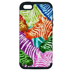 Zebra Colorful Abstract Collage Apple Iphone 5 Hardshell Case (pc+silicone)