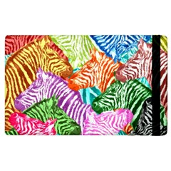 Zebra Colorful Abstract Collage Apple Ipad 2 Flip Case
