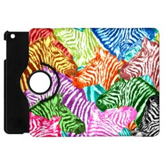 Zebra Colorful Abstract Collage Apple Ipad Mini Flip 360 Case