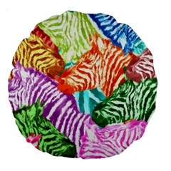 Zebra Colorful Abstract Collage Large 18  Premium Round Cushions