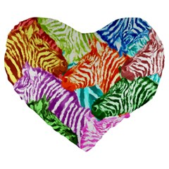 Zebra Colorful Abstract Collage Large 19  Premium Heart Shape Cushions