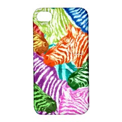 Zebra Colorful Abstract Collage Apple Iphone 4/4s Hardshell Case With Stand