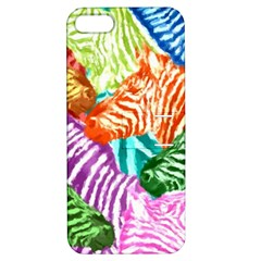Zebra Colorful Abstract Collage Apple Iphone 5 Hardshell Case With Stand