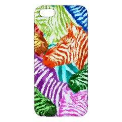 Zebra Colorful Abstract Collage Apple Iphone 5 Premium Hardshell Case
