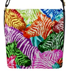 Zebra Colorful Abstract Collage Flap Messenger Bag (s)