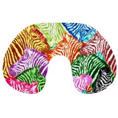 Zebra Colorful Abstract Collage Travel Neck Pillows