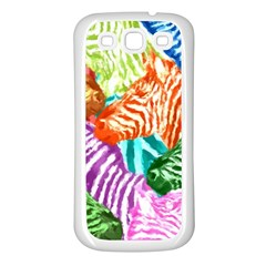 Zebra Colorful Abstract Collage Samsung Galaxy S3 Back Case (white)