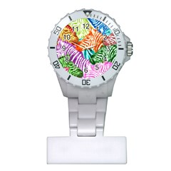 Zebra Colorful Abstract Collage Plastic Nurses Watch