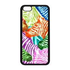 Zebra Colorful Abstract Collage Apple Iphone 5c Seamless Case (black)