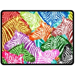 Zebra Colorful Abstract Collage Double Sided Fleece Blanket (large)