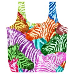 Zebra Colorful Abstract Collage Full Print Recycle Bags (l)