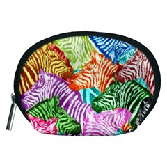 Zebra Colorful Abstract Collage Accessory Pouches (medium)