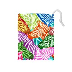 Zebra Colorful Abstract Collage Drawstring Pouches (medium)
