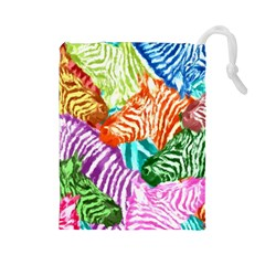 Zebra Colorful Abstract Collage Drawstring Pouches (large)