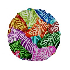 Zebra Colorful Abstract Collage Standard 15  Premium Flano Round Cushions