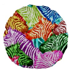 Zebra Colorful Abstract Collage Large 18  Premium Flano Round Cushions