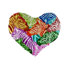 Zebra Colorful Abstract Collage Standard 16  Premium Flano Heart Shape Cushions