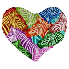 Zebra Colorful Abstract Collage Large 19  Premium Flano Heart Shape Cushions