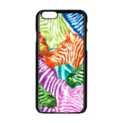 Zebra Colorful Abstract Collage Apple Iphone 6/6s Black Enamel Case