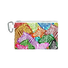 Zebra Colorful Abstract Collage Canvas Cosmetic Bag (s)