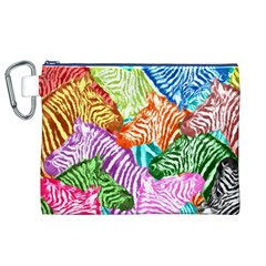 Zebra Colorful Abstract Collage Canvas Cosmetic Bag (xl)