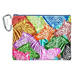 Zebra Colorful Abstract Collage Canvas Cosmetic Bag (xxl)
